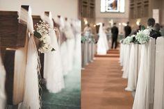 decoracao para casamento simples na igreja tule