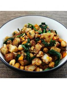 Warm Potato Salad with Spinach and Chickpeas | Vegan Recipe via One Green Planet: http://onegr.pl/1fwL2aO