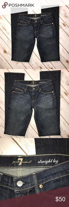 """7 For All Mankind Dark straight leg jeans 7 For All Mankind Dark straight leg Denim. In good condition. No rips or stains. Size 25. Measurements for flat lay: waist 28"""", out 42"""" , in 34"""" 7 For All Mankind Pants Straight Leg"""