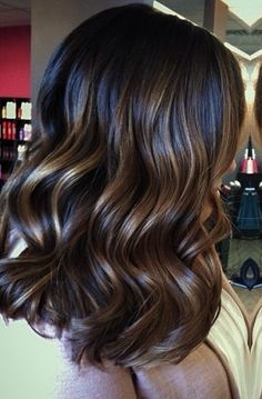 Deep brunette with caramel foil highlights.