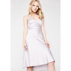 Satin Slip Dress ($38) ❤ liked on Polyvore featuring dresses, dew, v neckline dress, white satin dress, v neck dress, white dresses and white v neck dress