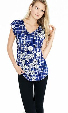 floral grid print rolled sleeve blouse
