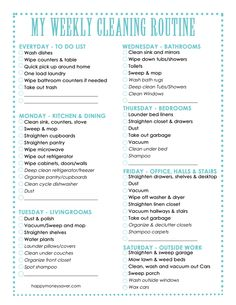 A printable cleaning schedule to plan out your week. Get more done with this checklist!