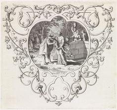 anoniem | Rebekka bij de bron, workshop of Bernard Picart, 1683 - 1733 | Rebekka geeft Eliëzer uit haar kruik te drinken bij de bron. Midden onder een verwijzing naar de Bijbeltekst in Gen. 24:18. De voorstelling is gevat in een ornamentele lijst.