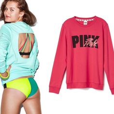 Medium PINK Open Back Crew The latest craze? Bold back detail. A cutout on the reverse beats a basic top at its game. Must-have sweats by Victoria's Secret PINK.  Open back Slim fit Print graphics Cozy, supersoft fleece No pockets Imported cotton/polyester PINK Victoria's Secret Sweaters