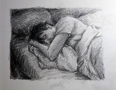 Mi amor duerme. Carboncillo sobre cartulina