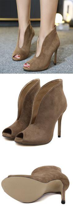 Material:Suede|Heel Height:11.5cm|Embellishment:Hollow