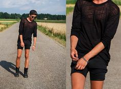 Weekday Sheer Longsleves, Cheap Monday Shorts, Dr. Martens Boots, Nike Cap