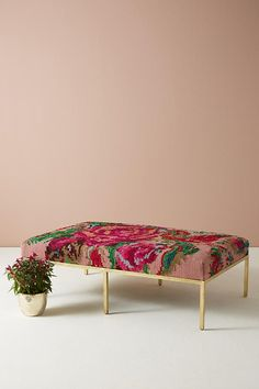 Slide View: 1: Floral Silk Carpet Ottoman
