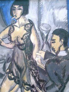 Expressionist Painter Ernst Ludwig Kirchner (German: - Couple in a Room Ernst Ludwig Kirchner, Harlem Renaissance, Ludwig Meidner, George Grosz, Expressionist Artists, Art Database, Art Moderne, Oeuvre D'art, Colors