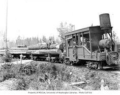 Climax locomotive, log train.