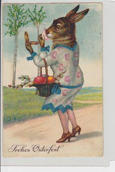 Dressed Rabbit Vintage Postcard (unsigned Thiele?): Lady Rabbit Fixes Make-up | eBay