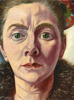 Charley Toorop (Dutch 1891-1955), Self-portrait with fur collar, 1940. Formerly Collection Scheringa Museum voor Realisme, Spanbroek, but transferred to Museum MORE, Gorssel, Netherlands, when the Scheringa collection was liquidated.