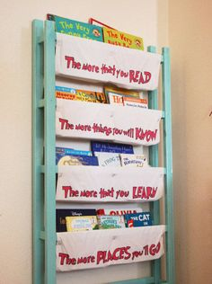 Jamie of DIY Home Sweet Home made this bookshelf using the front and back panels of an old crib and painted pillowcases.
