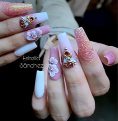 How to easily remove a glitter nail polish - My Nails Bling Acrylic Nails, Simple Acrylic Nails, Best Acrylic Nails, Bling Nails, 3d Nails, Swag Nails, Glitter Nails, Cute Nails, Pretty Nails