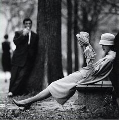 Woman on a park bench in Central Park, New York, 1957. Photo by Yale Joel.