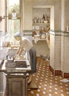 "This painting is allegedly of the painter's 1914 kitchen. ""The Tiled Kitchen"" - Harry Bush (1954)"