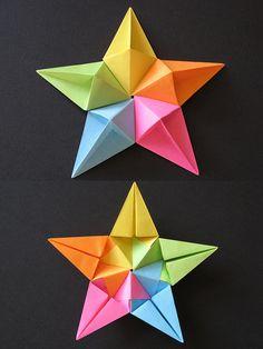 Stella diamante - Diamond Star Tecnica: origami modulare, con 5 fogli 9 cm x 9 cm. Autore: Francesco Guarnieri...