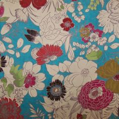 Floral Fabric - Decorating Fabrics -Cisco Turquoise Suede Floral  Upholstery Fabric
