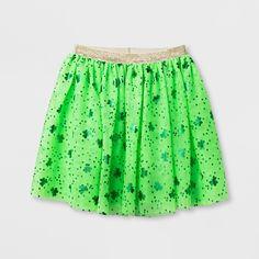 Girls' Shamrock Print St. Patrick's Day Tutu Skirt - Cat & Jack Green XS