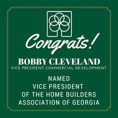 Fickling & Company is happy to share that Bobby Cleveland, Vice President of Commercial Development, was named Vice President of the Home Builders Association of Georgia. - http://www.hbag.org/senior-officers.html #Ficklingandco #HomeBuildersAssociation #HBAG #Development #RealEstate #IndustryLeader