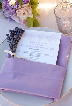 Brides.com: . Tucked into purple napkins that held sprigs of dried lavender, menu cards announced a three-course meal complete with a late night snack: s'mores.