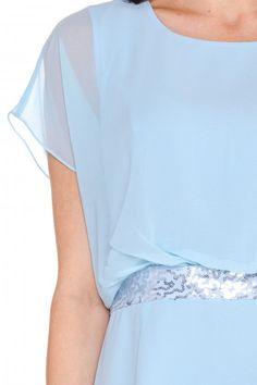 Błękitna sukienka z cekinami - L'ame de Femme - L'ame de Femme - Odzież damska Balladine.com - Polska Moda Online