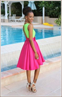 Neon pink and green dress Green Fashion, Love Fashion, Curly Nikki, Everything Pink, Swagg, Dress Me Up, Passion For Fashion, Dress To Impress, Dress Skirt
