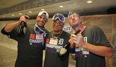 Martinez, Victor Martinez, and Max Scherzer celebrate a Central Division Championship Detroit Baseball, Tigers Baseball, Detroit Tigers, Cute Baseball Players, Baseball Pants, Baseball Stuff, Tiger Team, Tiger Love, Michigan Wolverines