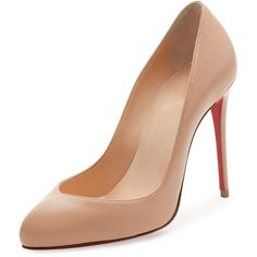 Christian Louboutin Breche Leather 100mm Red Sole Pump ($675) ❤ liked on Polyvore featuring shoes, pumps, nude, shoes pumps, multi-color pumps, nude pumps, slip-on shoes, colorful pumps and polish shoes