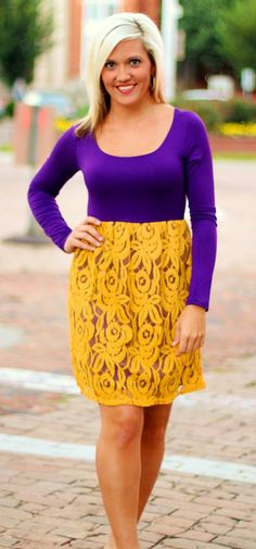 """""""Victoria"""" Dress in Purple/Gold. $39.99. S, M, L. Great for LSU Tiger Fans! Available at 105 West Boutique in Abbeville, SC. (864) 366-WEST. Shipping $5. Heart Dress, Dress Up, Lsu Tigers, Victoria Dress, Funky Fashion, Purple Gold, My Style, Funky Style, Plus Size Fashion"""