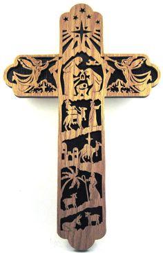 Scroll saw cut Nativity scene cross. Please visit their shop - http://www.etsy.com/shop/ScrollSawTreasures