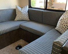 Camper Cushion Cover for sofa / gaucho / bench with zipper | Etsy Camper Hacks, Diy Camper, Rv Campers, Camper Trailers, Camper Ideas, Happy Campers, Rv Trailer, Popup Camper, Camper Van