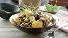 Castañetas guisadas con champiñones y patatas