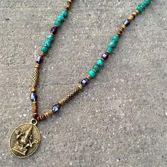 Genuine undyed turquoise Ganesh pendant beaded necklace! #necklace #ganesh #success
