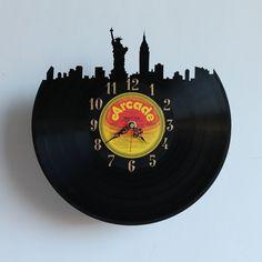 Handcarved New York vinyl record clock record by TikalTextiles