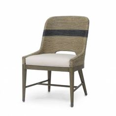 Copeland Rope Side Chair Upholstered Grade C Indoor Outdoor Sailcloth Salt Grey Finished Wood Frame and Legs with Pewter Foot Caps Rope Seat and Back with Black Stripe  Fixed Upholstered Seat  Also Available As Arm Chair