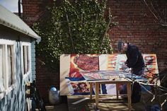 Illustator & artist Jonny Hannah at work in his studio, Southampton, UK