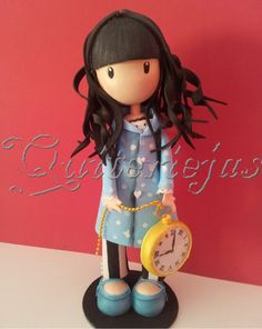 Gorjuss topper in style of artist suzanne woolcoott Polymer Clay People, Polymer Clay Animals, Polymer Clay Dolls, Polymer Clay Projects, Polymer Clay Charms, Clay Figurine, Fondant Figures, Foam Crafts, Fairy Dolls