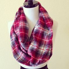 The Jane Infinity Scarf - red/black plaid flannel by HandsFullDesigns on Etsy