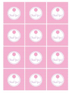 Free thank you tags - pink balloon