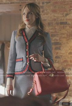 Fallon's blue tweed jacket and skirt on Dynasty. Outfit Details: https://wornontv.net/93415/ #Dynasty
