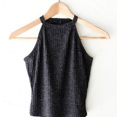 High-Neck Crop Top - Black