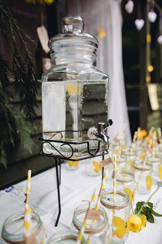 Creative Yellow 'Greys' Waterfall Woods Wedding Drinks  http://www.lucylittle.co.uk/
