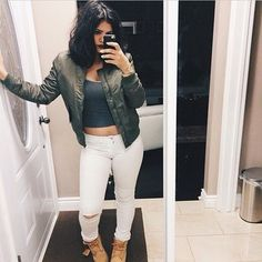 jacket coat bomber jacket green jacket green white white jeans ripped jeans jeans pants denim fashion style outfit boots timberlands jewels grey tank top vintage tumblr outfit tumblr instagram lipstick red black nail polish