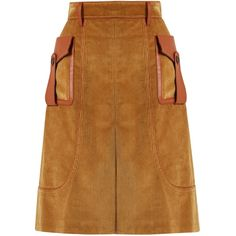 Prada Leather-trimmed cotton-corduroy skirt (€1.510) ❤ liked on Polyvore featuring skirts, prada, light brown, calf length skirts, brown skirt, high waist skirt, high-waist skirt and brown midi skirt