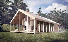 Dom z werandą - wygląd od stony ogrodu