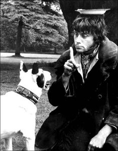 on the set of the film Oliver! (1968). The actor Oliver Reed (as Bill Sikes) and the dog named Bullseye