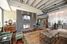 Industrial chic living room!
