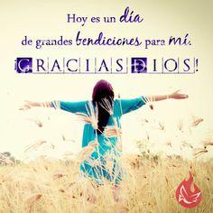¡Hoy es un día de grandes bendiciones para mí!  #MensajedelDia #Motivación  #Esperanza #Dios #Fe #Católico